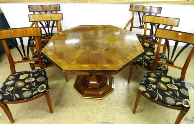 Contemporary Inlaid Table & Chairs