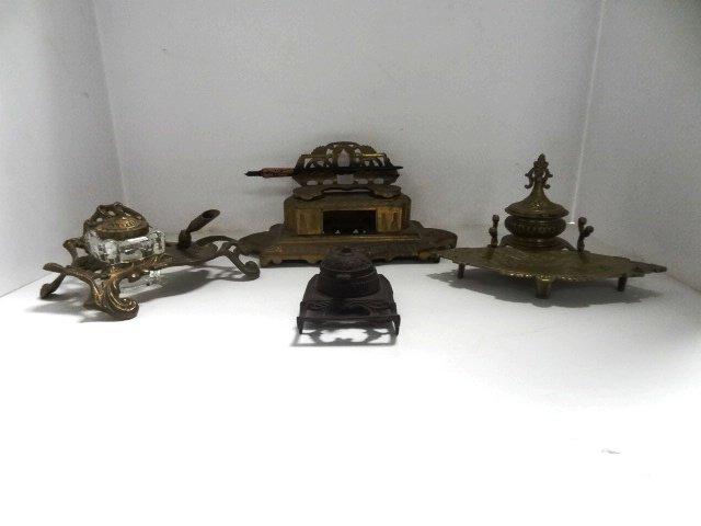 Four  Brass Inkwells