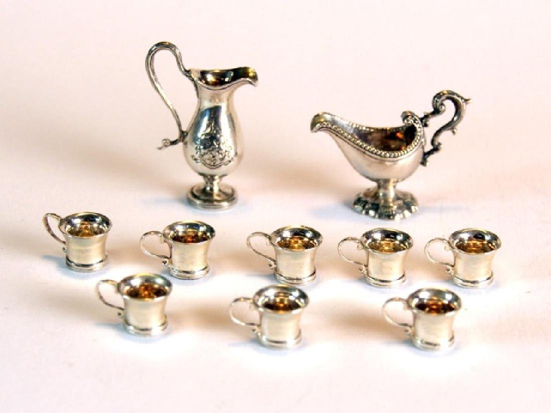 Obadiah Fisher Silver Cups, Gravy Boat & Pitcher