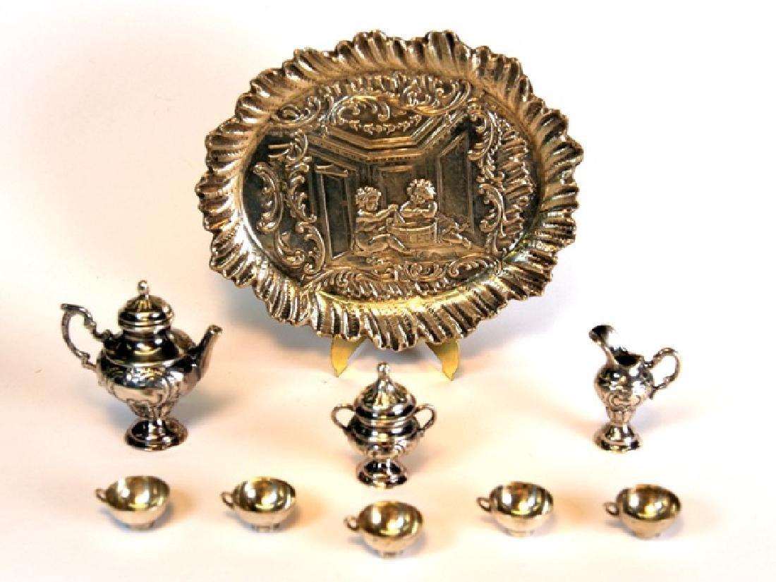 Silver Tea Set & German Tray