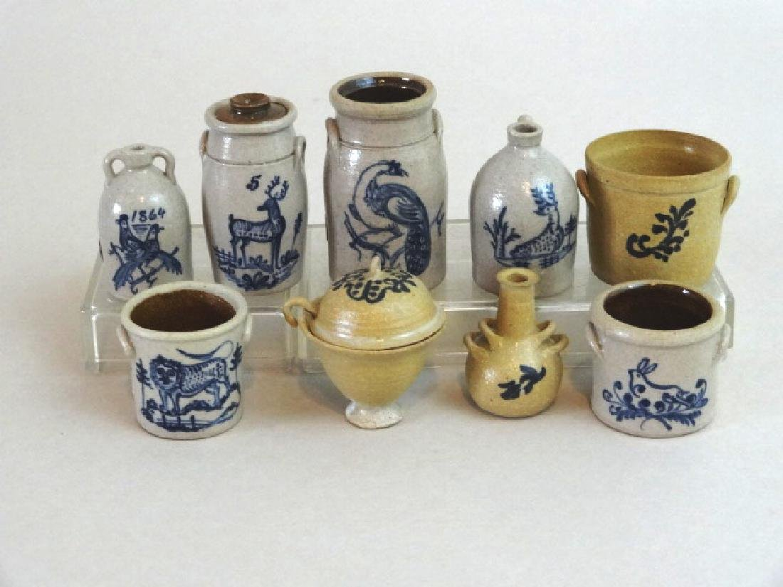 Six Carolyn Curran Cobalt Decorated Stoneware and