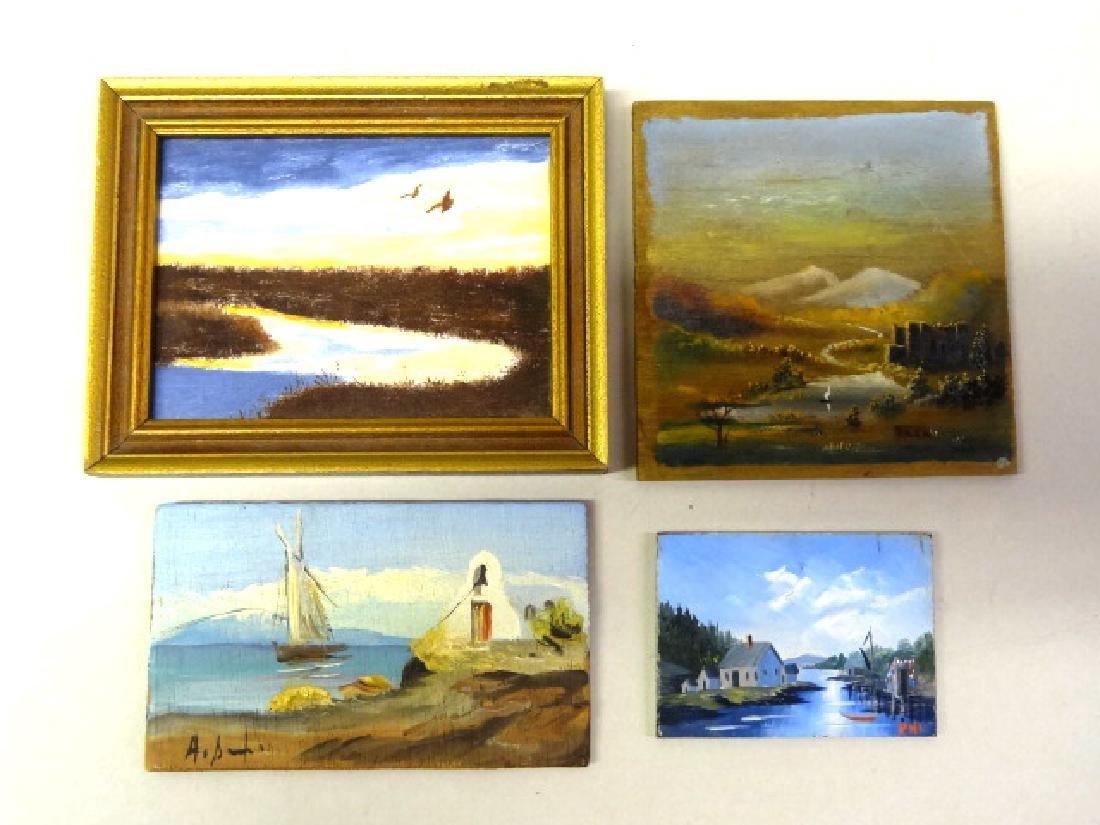 Four Dollhouse Miniature Oil Paintings