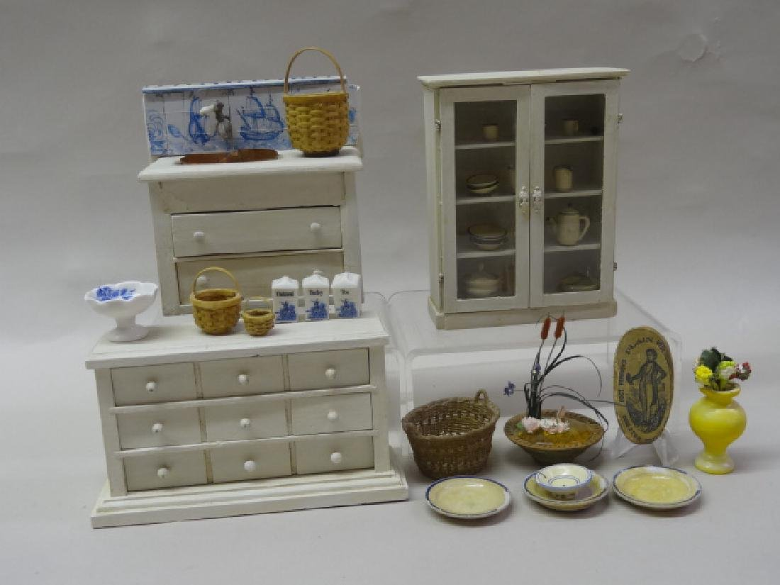 Dollhouse Miniature Cupboards and Treenware and Baskets