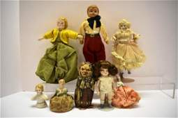 Bisque, Celluloid, Porcelain and Cloth Small Dolls