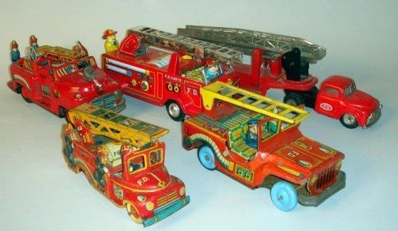 1004: Japanese Tin Fire Trucks Five pieces