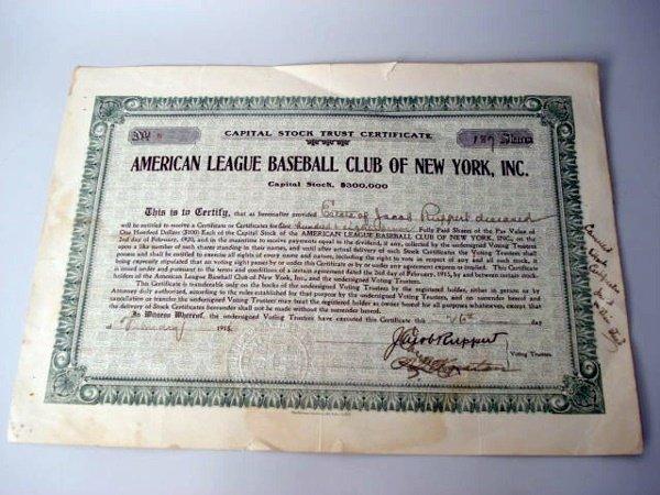 1012: New York Yankees Stock Certificate  1915