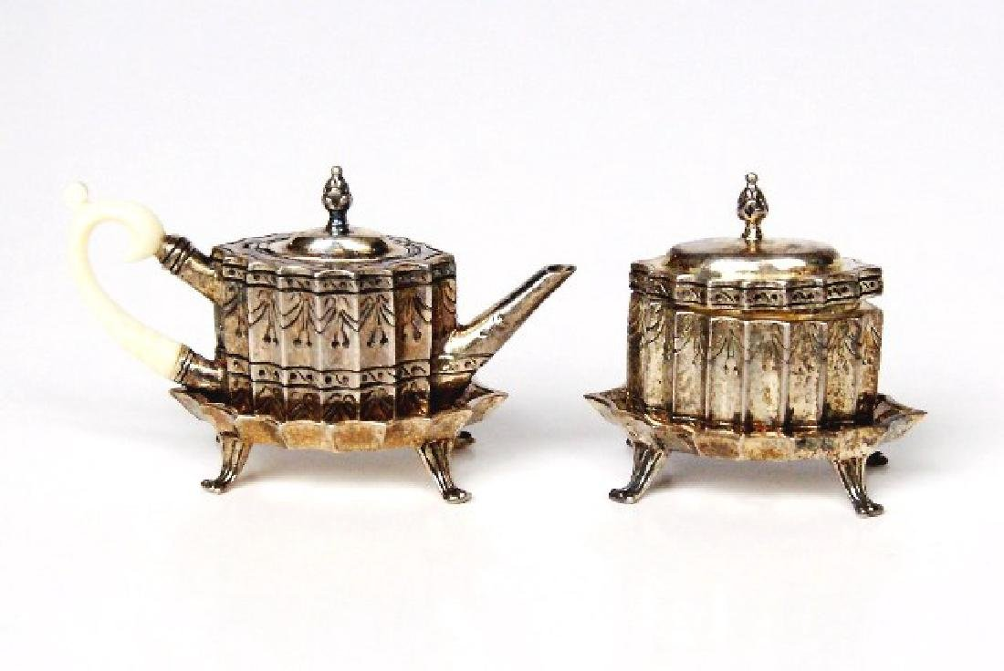 Obadiah Fisher Teapot & Sugar Bowl on Stands Dollhouse