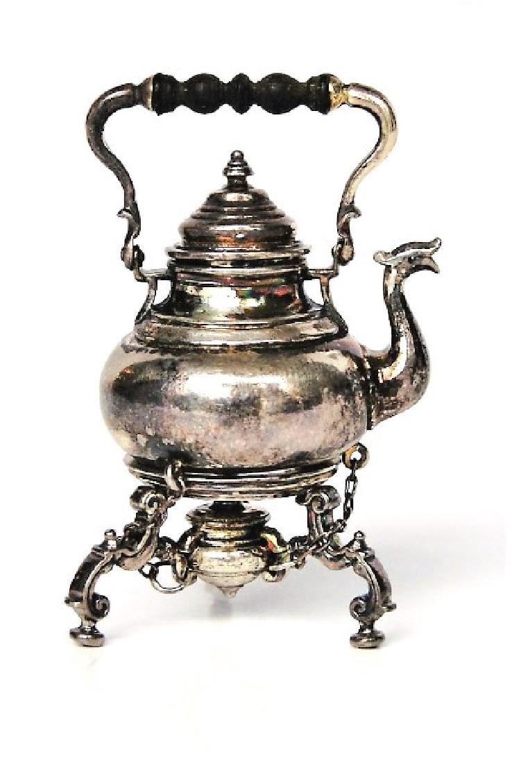 Obadiah Fisher Silver Hot Water Kettle On Stand