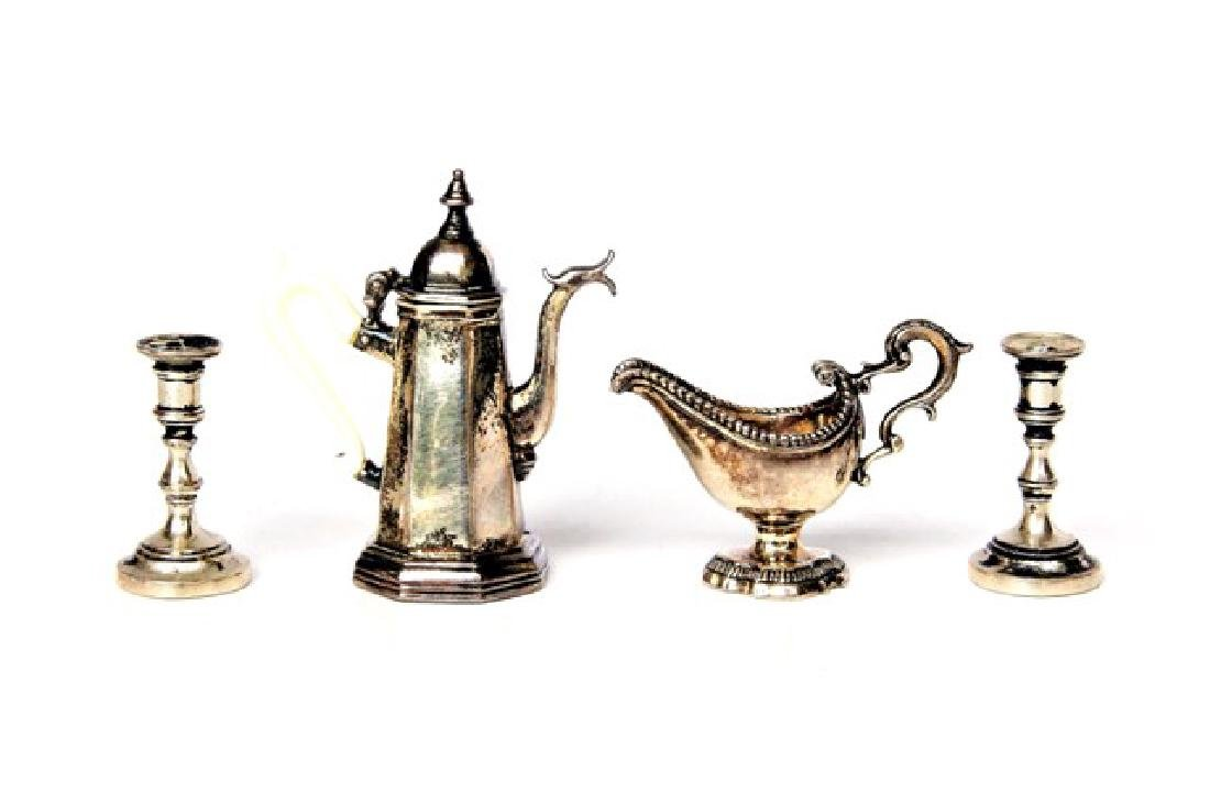Obadiah Fisher Silver Teapot, Sauce Boat & Candlesticks