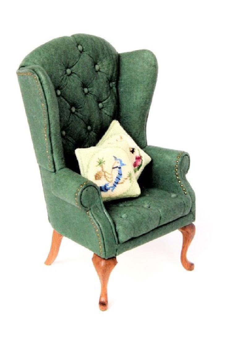 Judy Beals Leather Queen Ann Armchair