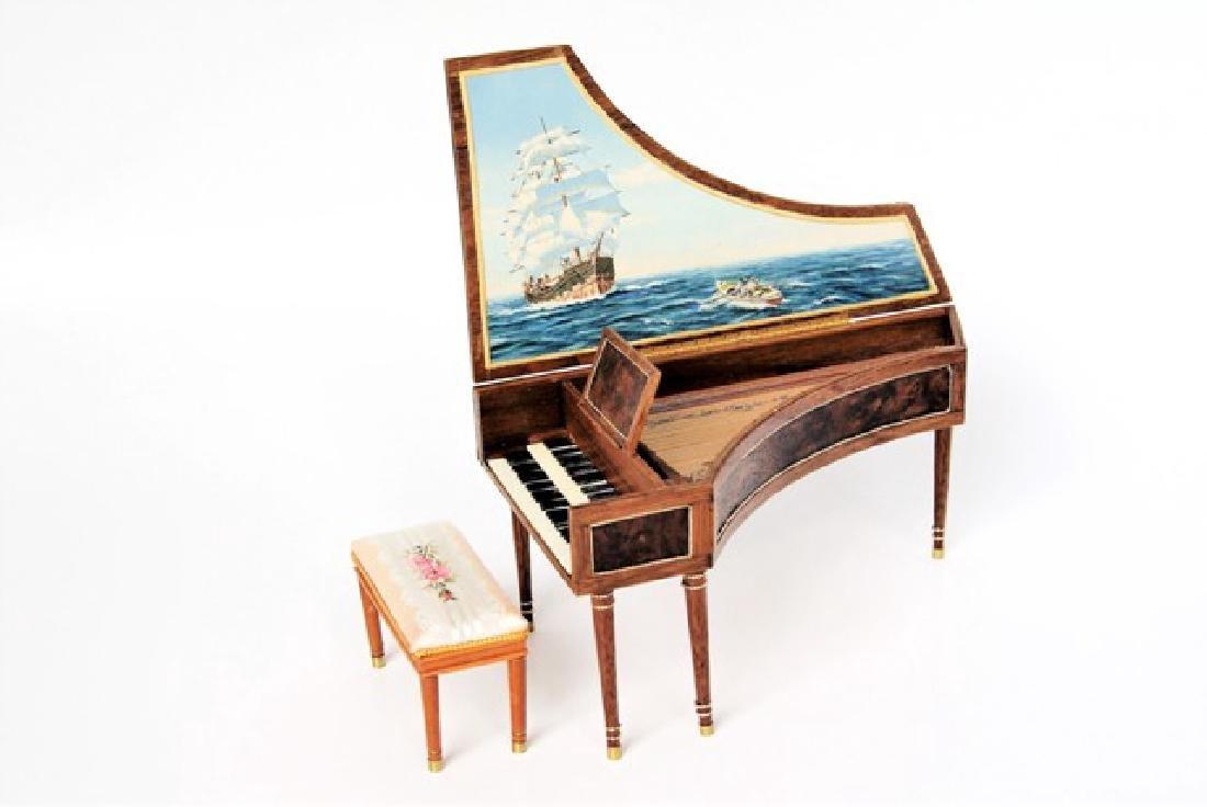 Orvin Fjare Harpsichord & Bench Dollhouse Miniatures