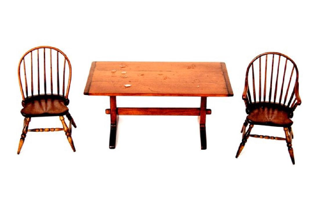 Oldham Studios Trestle Table & Windsor Chairs Dollhouse
