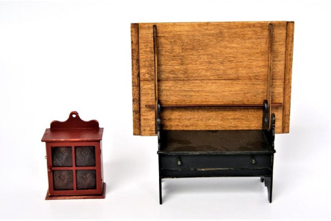 Renee Bowen Pie Safe & Table Dollhouse Miniatures