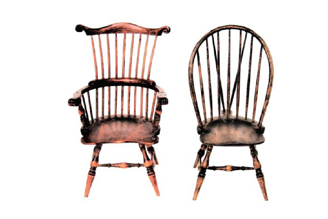 Two P.W. Windsor Chairs Dollhouse Miniatures