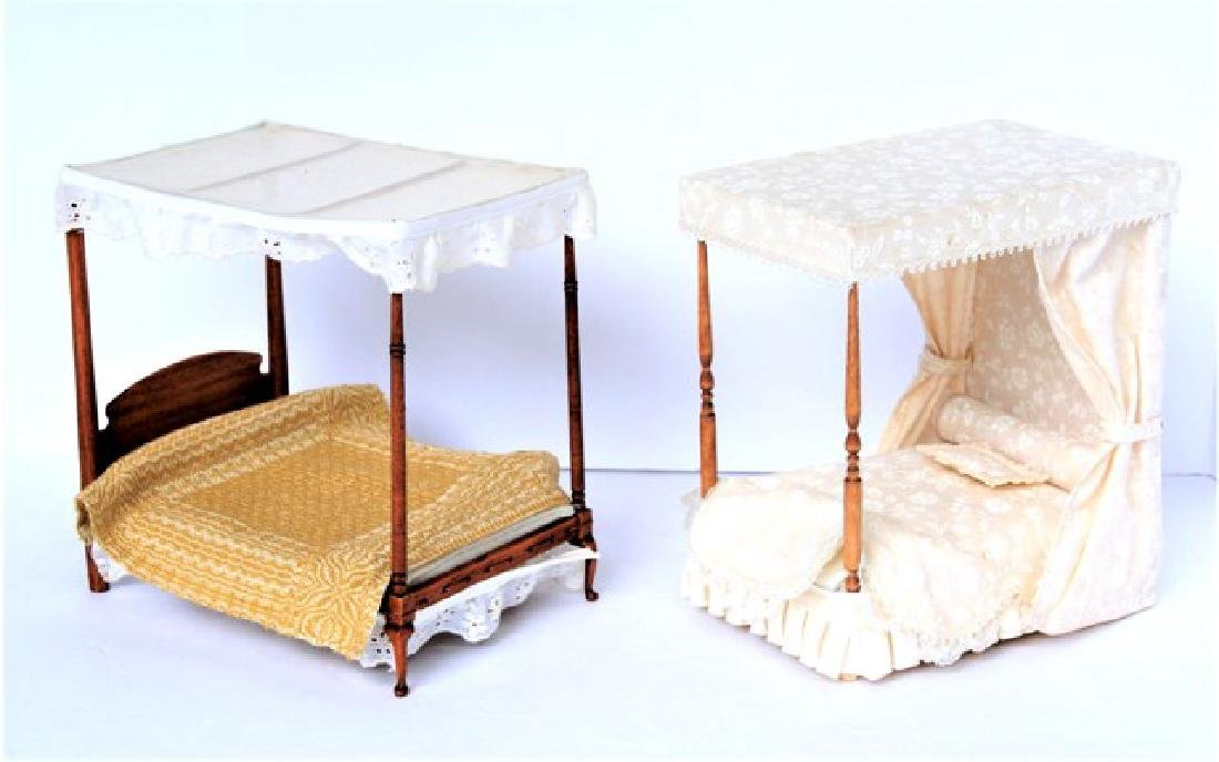 Two Dollhouse Canopy Beds