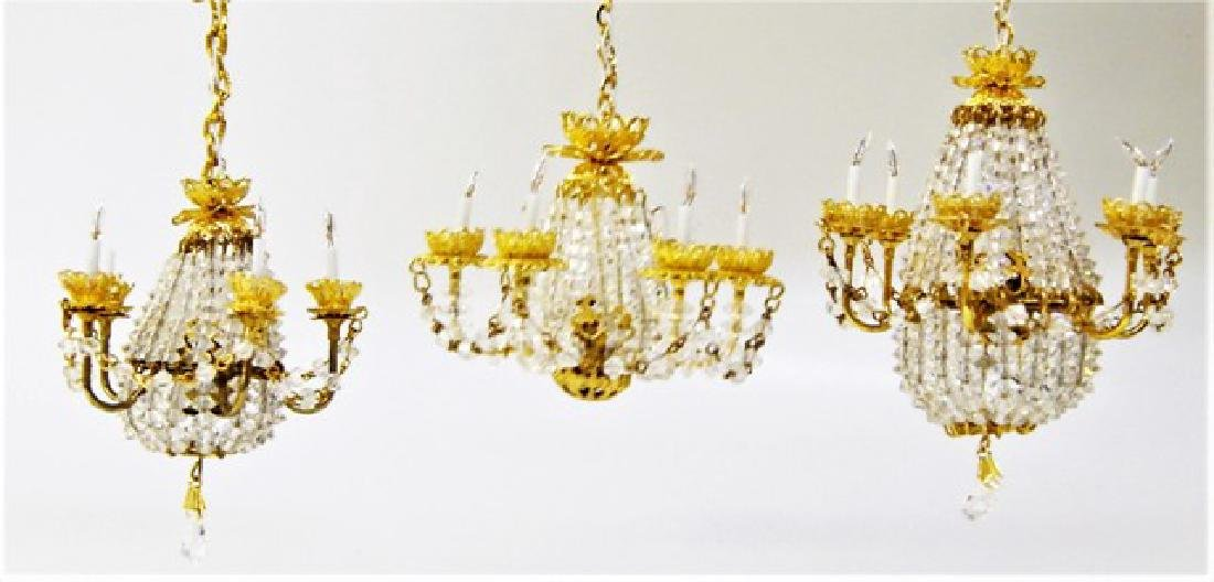Three Rosel Beaded Chandeliers for Dollhouse