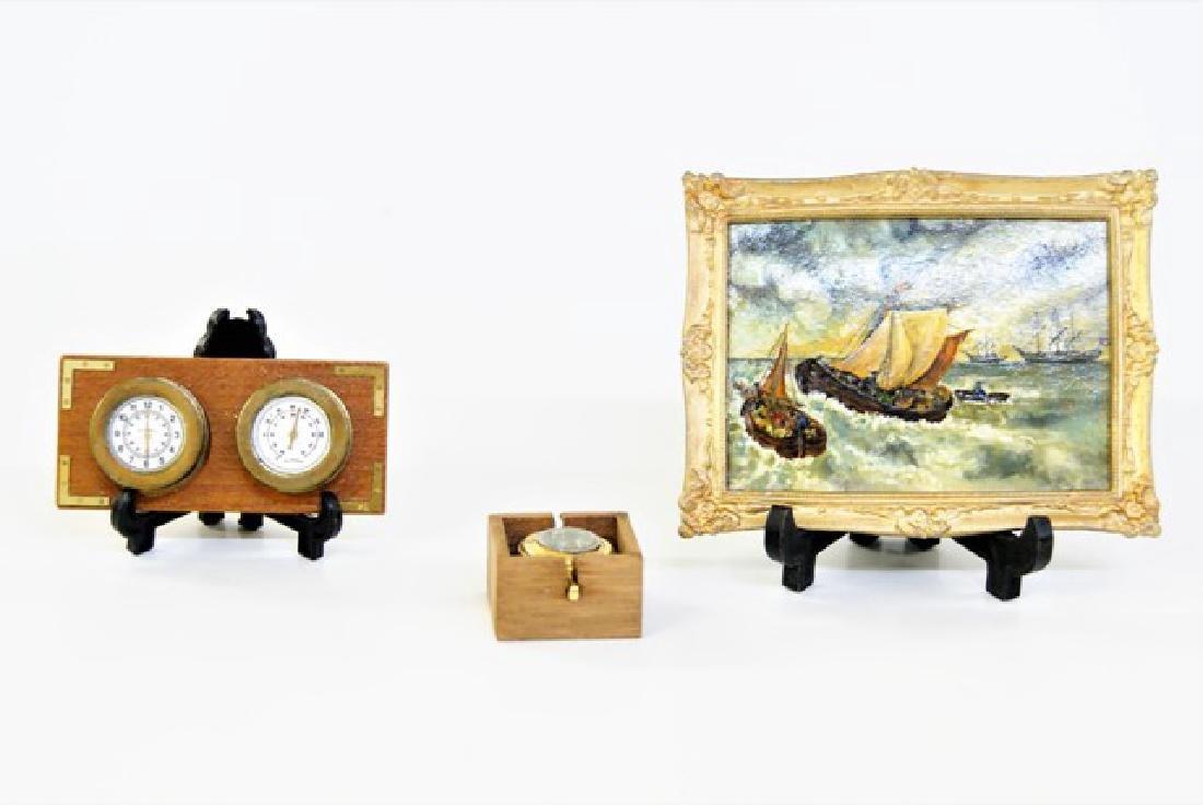 Ship's Compass, Clock, Barometer & Painting Miniatures