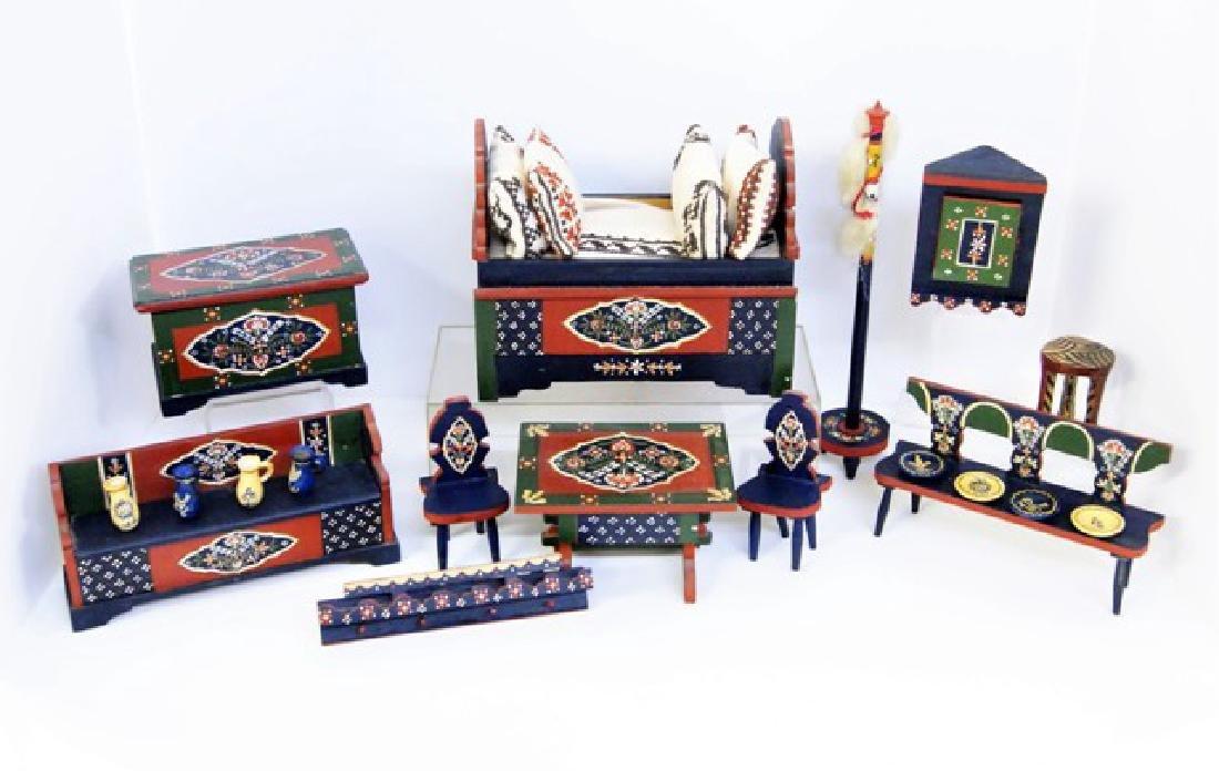 Scandinavian Dollhouse Painted Furniture