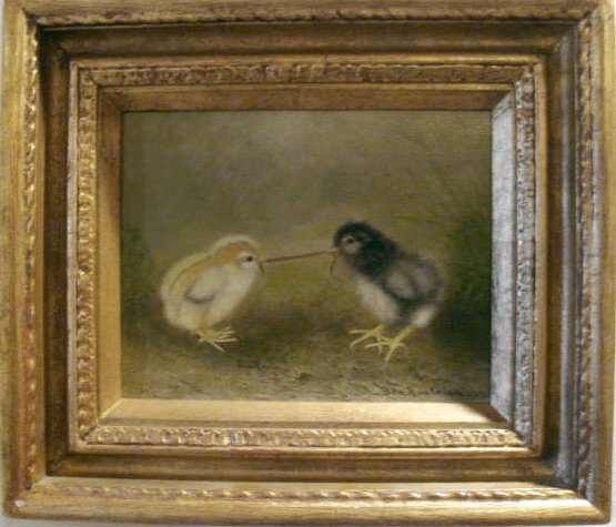 "1171: Ben Austrian Chicks "" Tug of War"" Oil Painting"