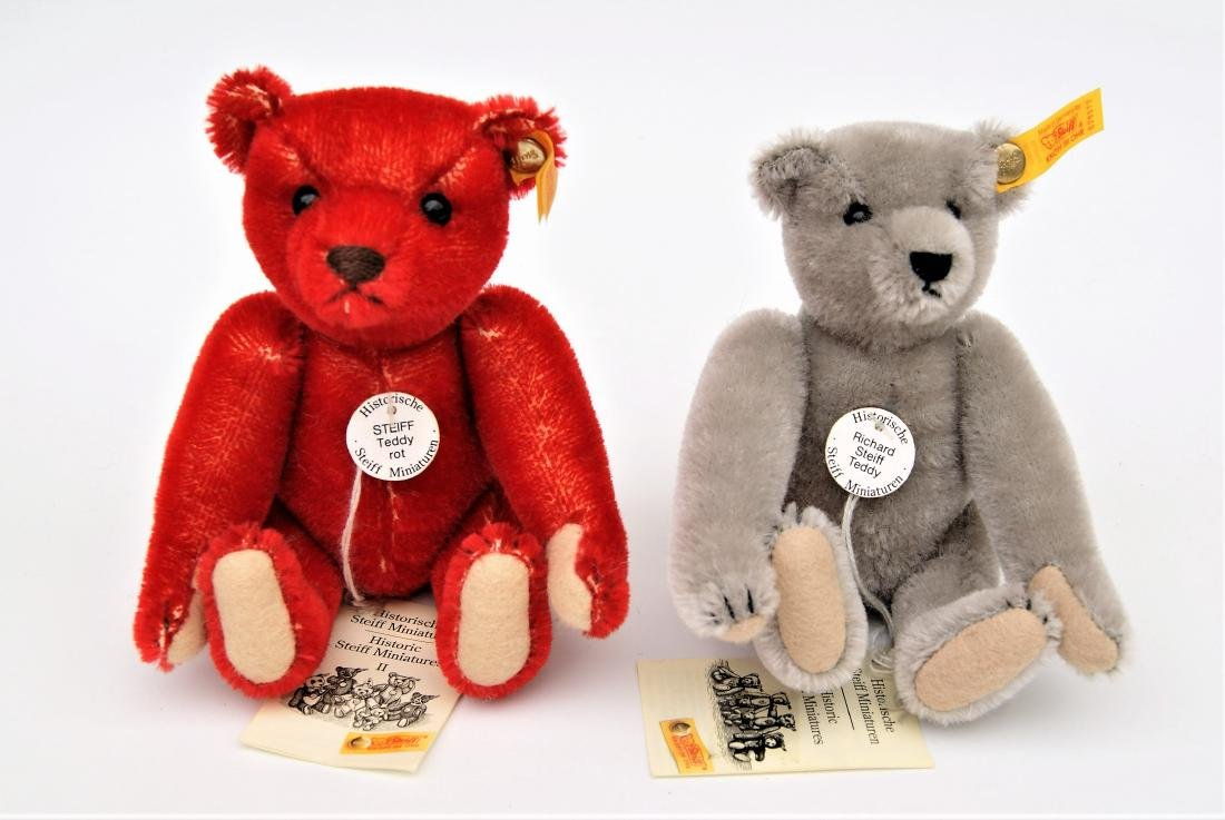 Steiff Teddy Bear Miniature Replicas Red And Grey - 2