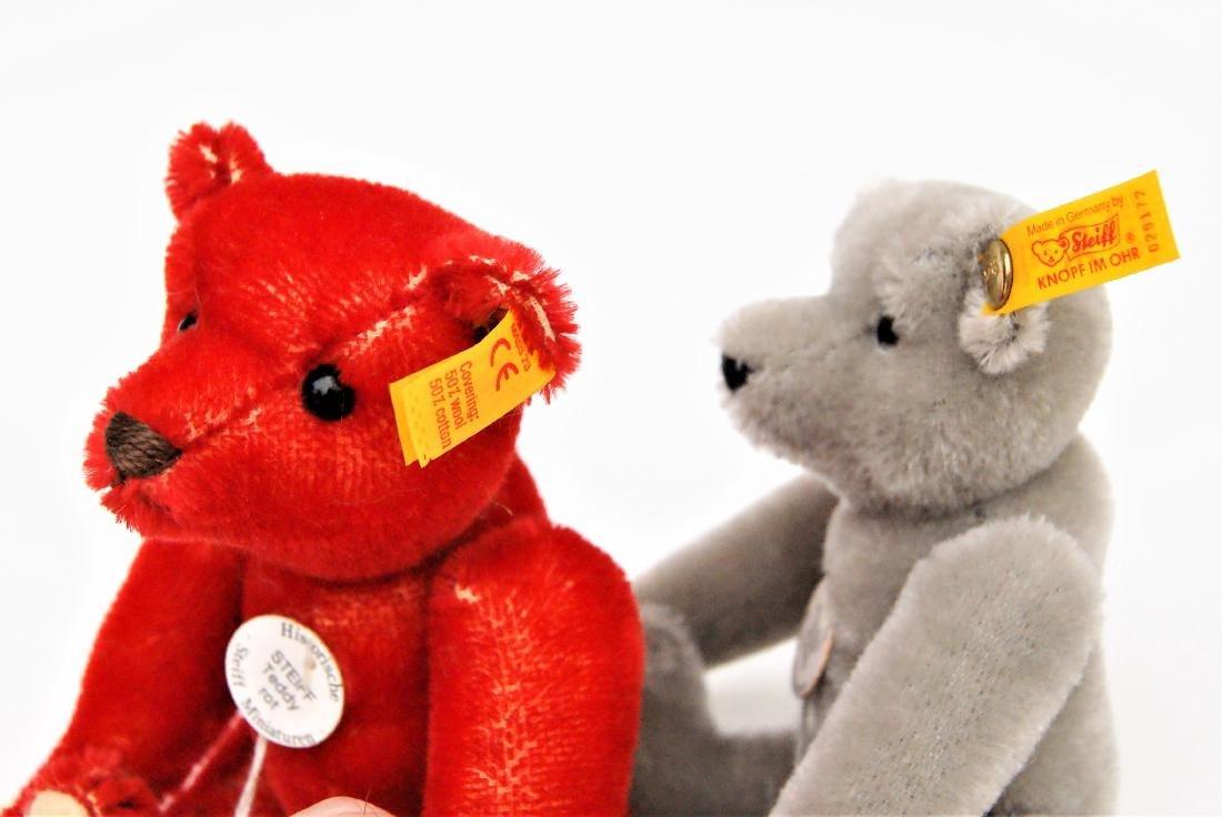 Steiff Teddy Bear Miniature Replicas Red And Grey - 3