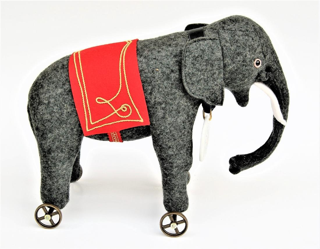"Steiff 8"" Club LE Elephant On Wheels - 2"