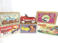 Six Contemporary Miniature Pedal Cars in OB