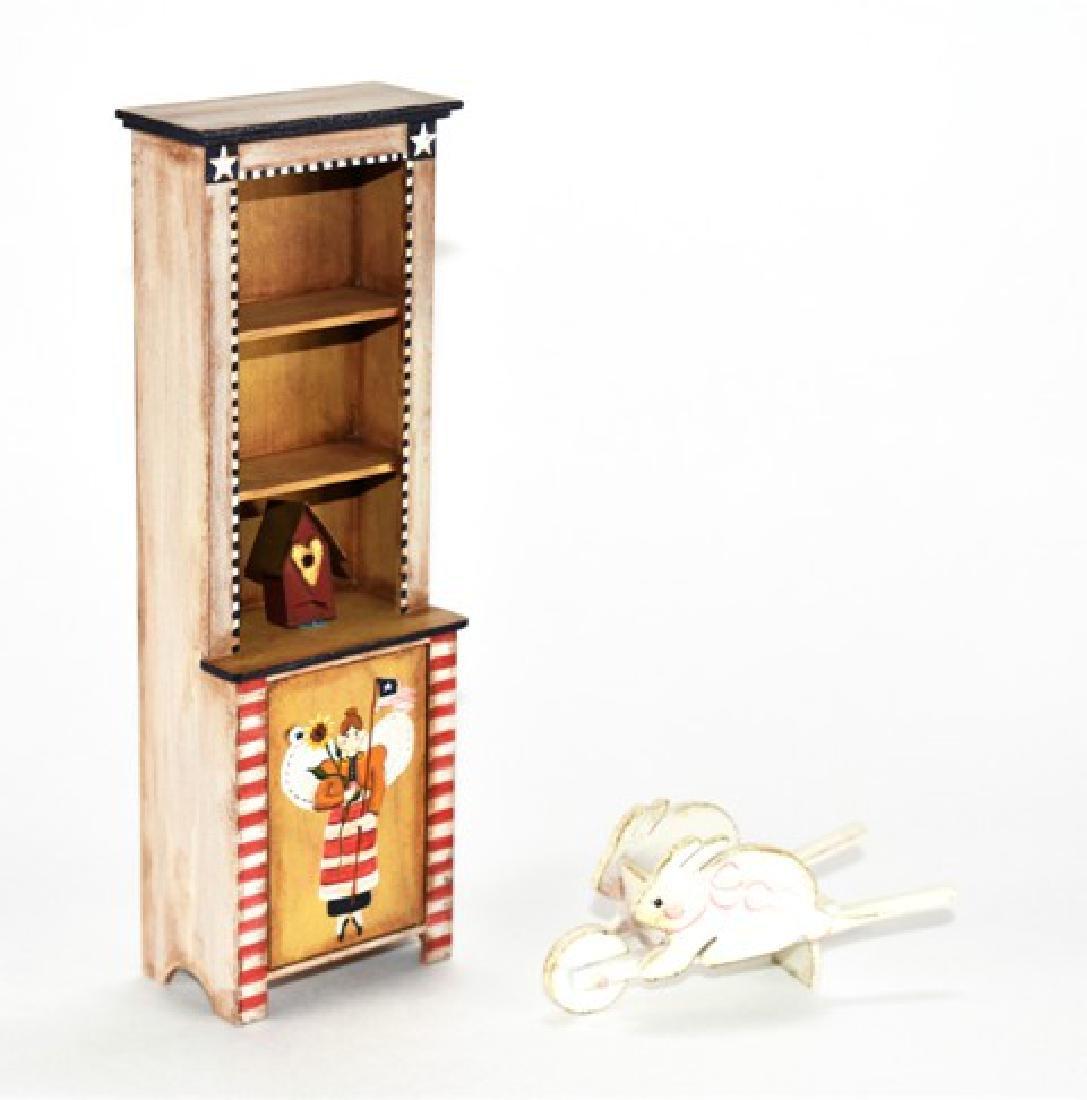 Karen Markland Folk Art Cabinet & Wheelbarrow Dollhouse