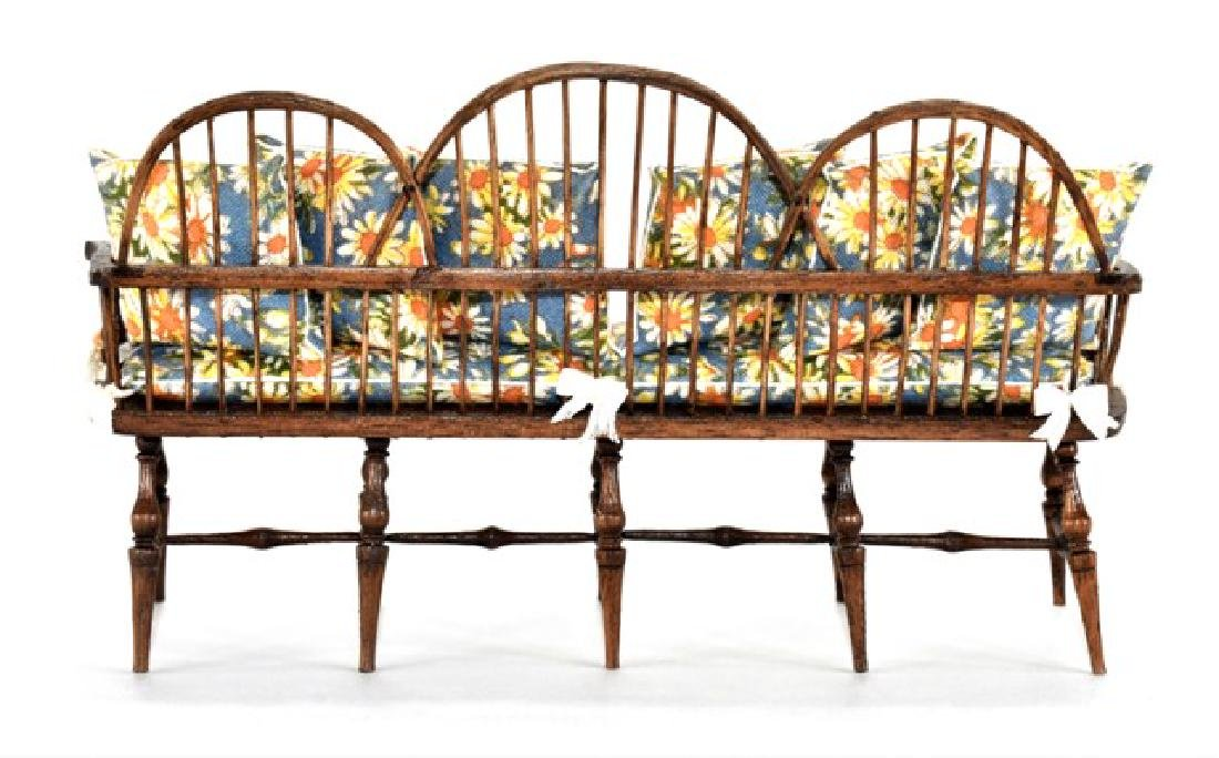 Marble & Williamson Windsor Settee Dollhouse Miniature - 2