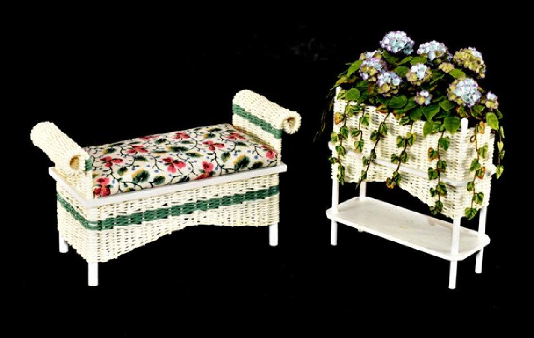 Rankin Wicker Bench & Plant Stand Dollhouse Miniatures