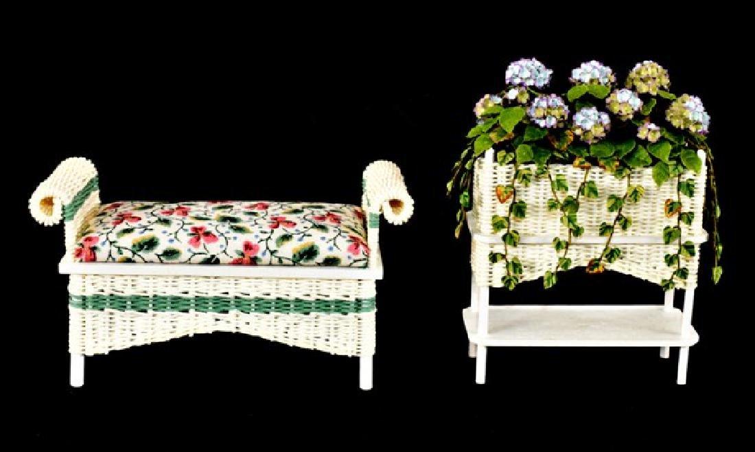 Rankin Wicker Bench & Plant Stand Dollhouse Miniatures - 2