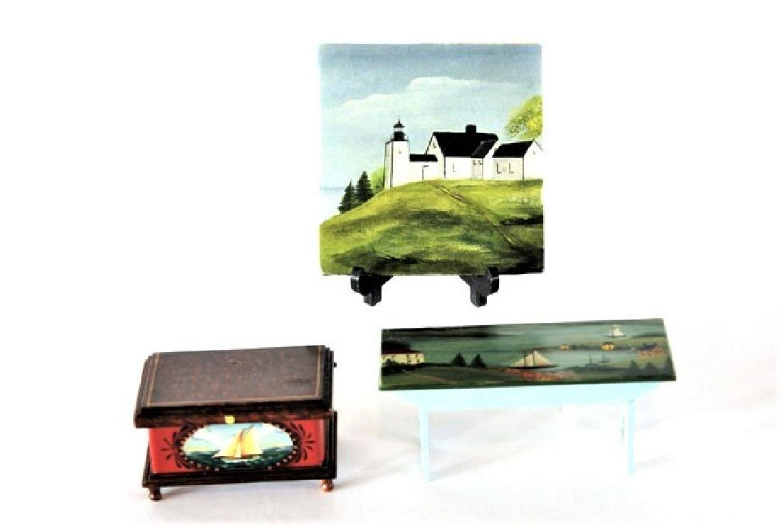 Therese Bahl Nautical Bench, Trunk & Painting Dollhouse