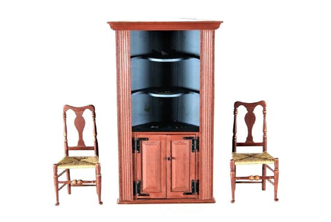 Dan Buckley Corner Cabinet & Chairs Dollhouse