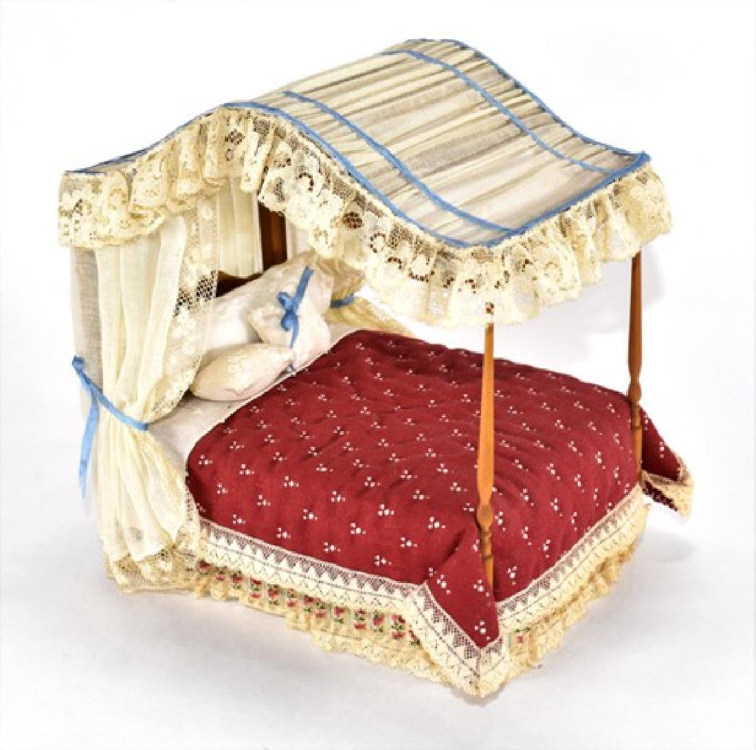 Sheraton Dressed Canopy Bed Dollhouse Miniature