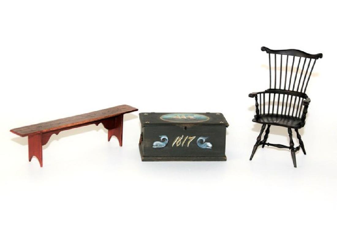 James Hastrich Ship's Chest, Windsor & Bench Dollhouse