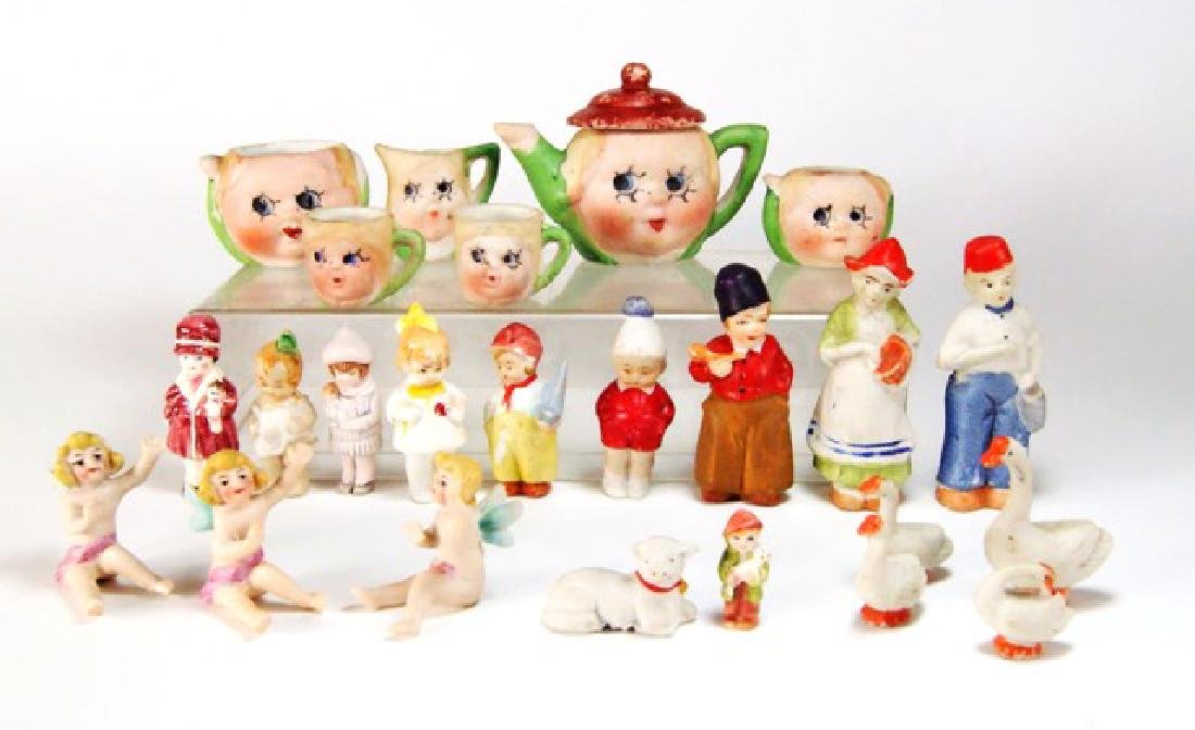 Vintage Miniature Bisque Tea set & Figures for