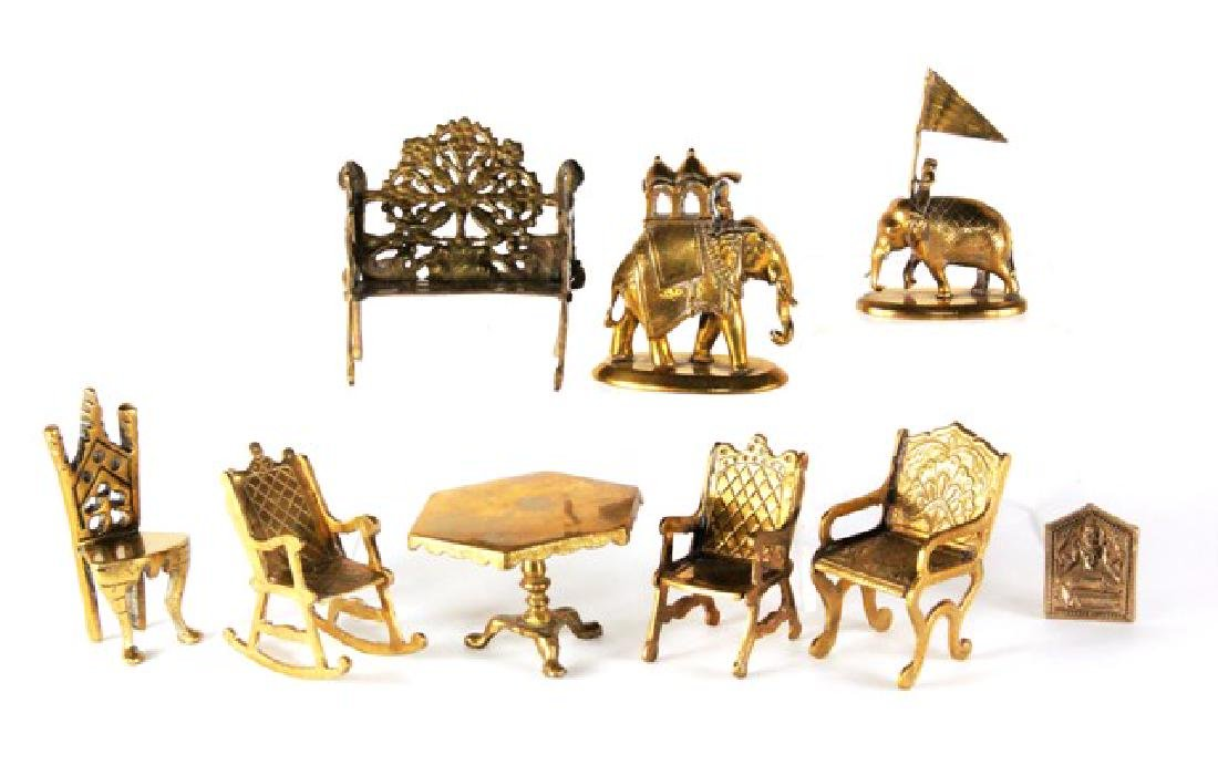 Brass Miniature Furniture and Accessories for Dollhouse