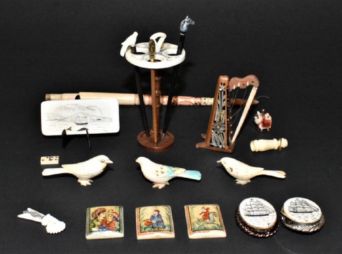 Scrimshaw & Painted Bone Dollhouse Miniature