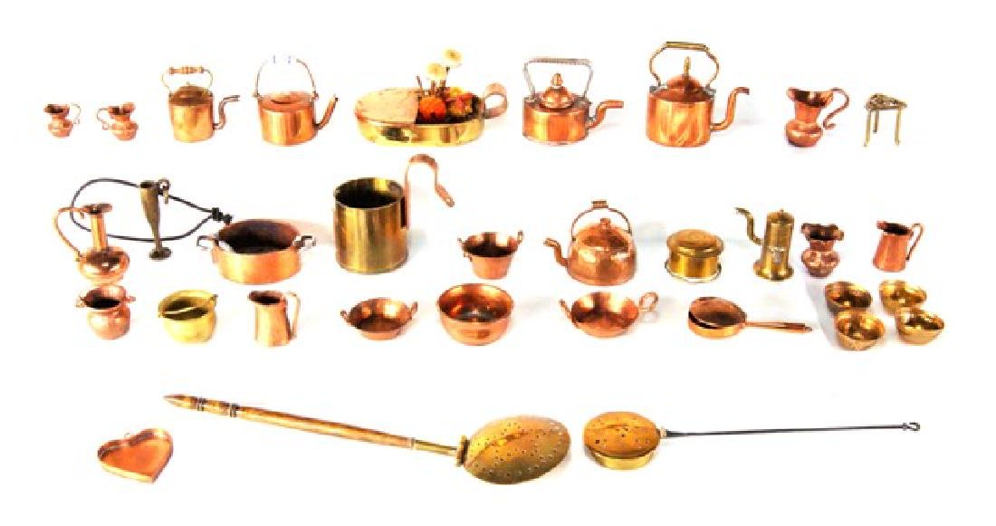 Large Group of Copper Dollhouse Miniature Accessories
