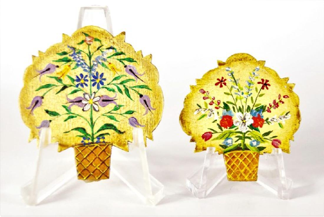 George Schlosser Two Floral Fire Screens Dollhouse