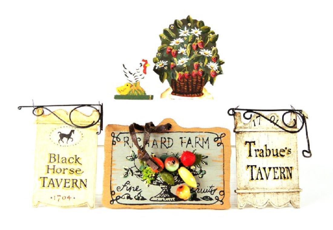 Dollhouse Miniature Fire Screen & Tavern Signs etc.