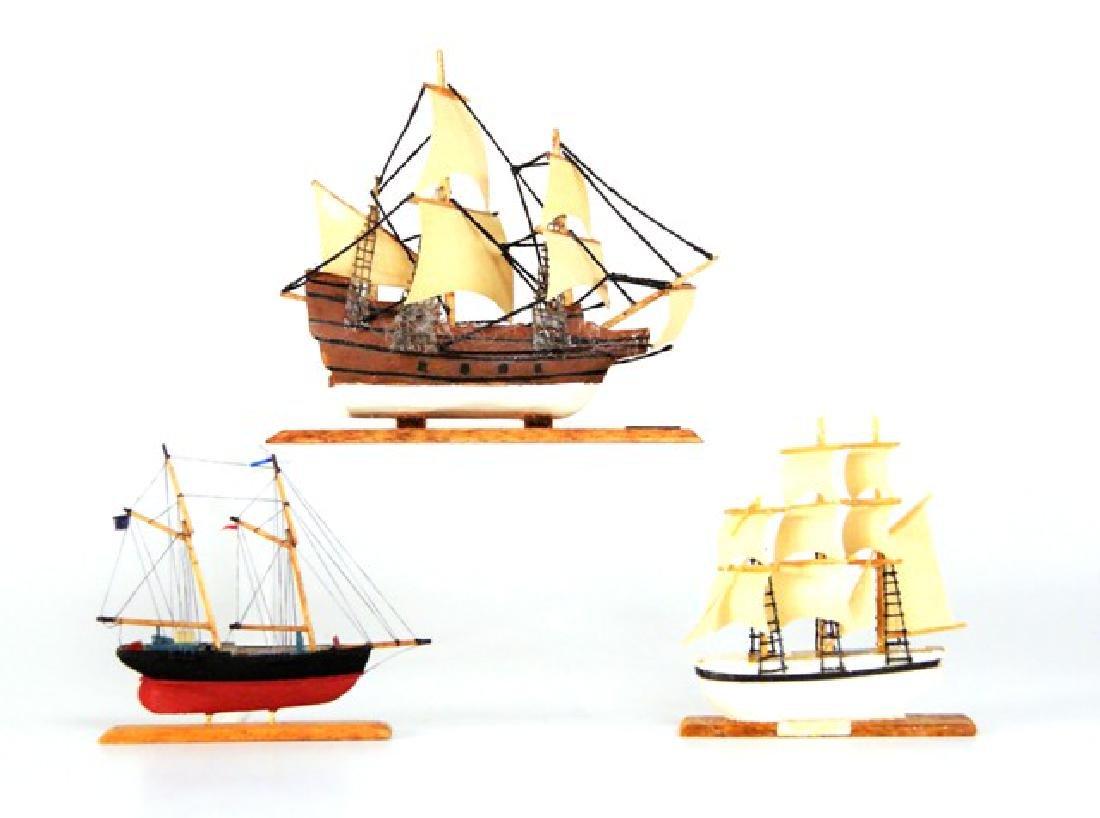 Three Artisan Model Sailing Ships Dollhouse Miniatures