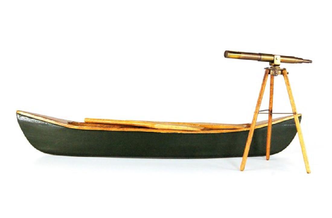 Miniature Telescope & Canoe For Dollhouse