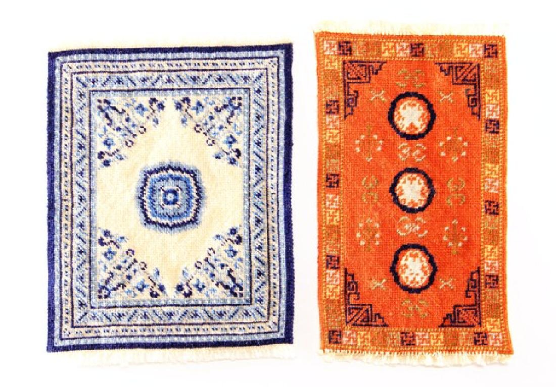 Two Needlepoint Dollhouse Rugs Miniatures
