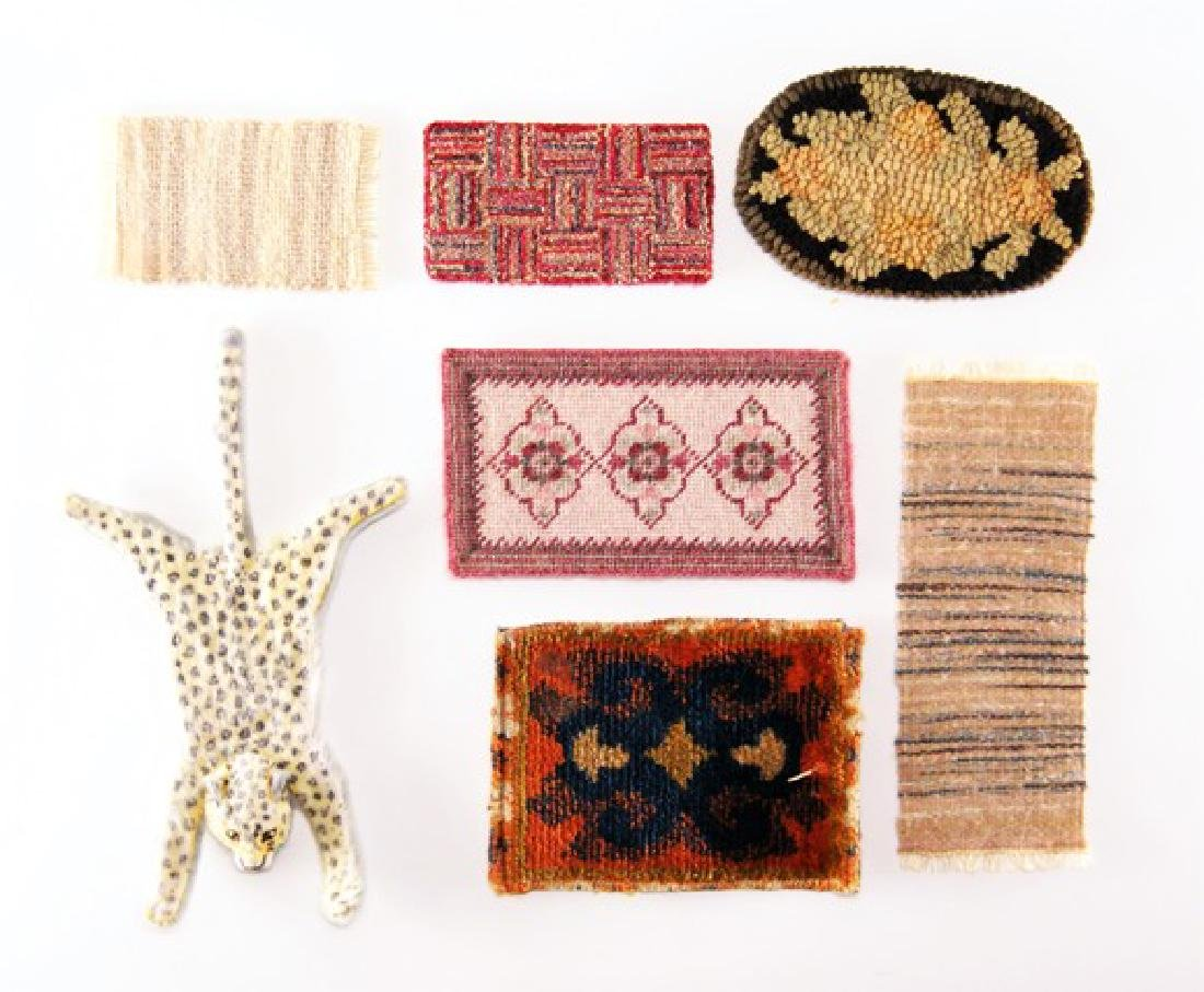 Four Small Handmade Dollhouse Rugs & Others Miniatures