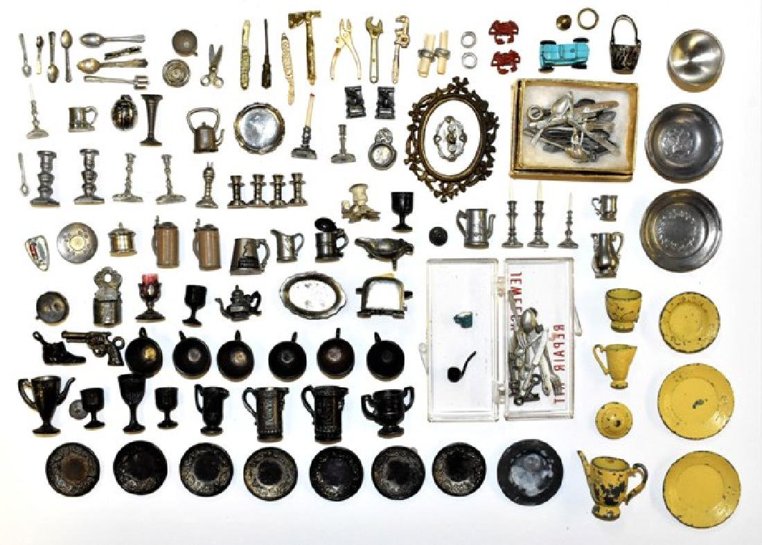 Large group of Lead & Pewter Dollhouse Accessories