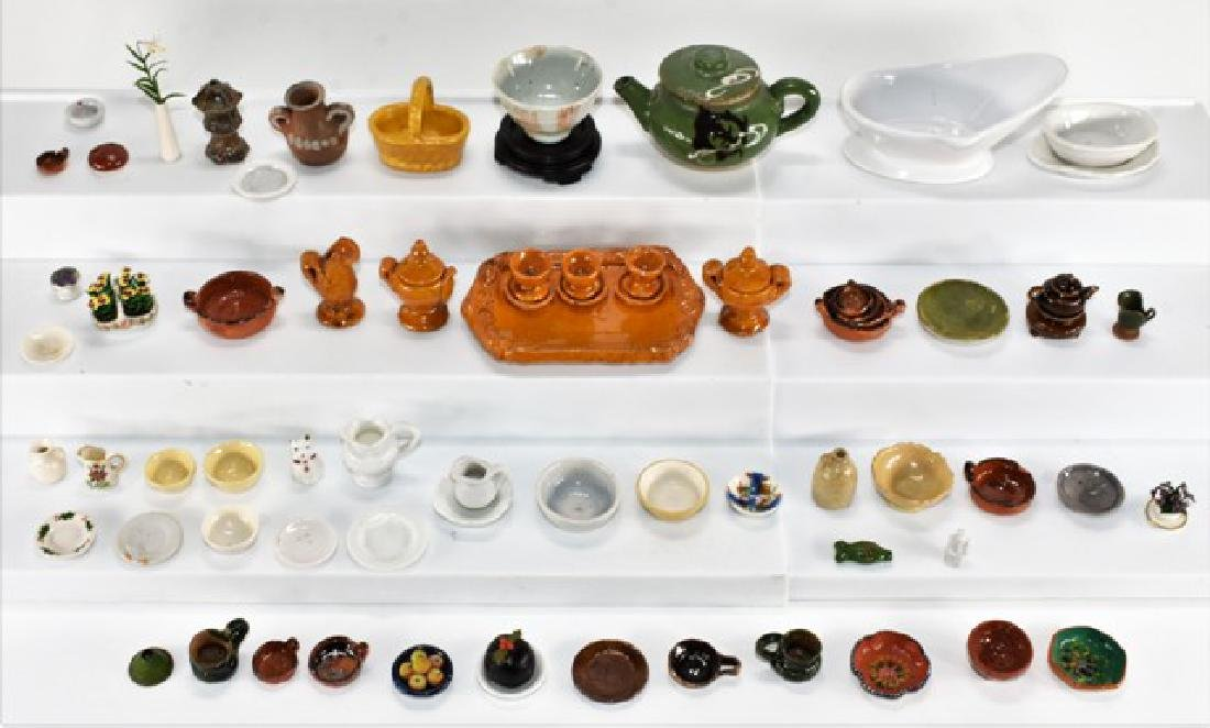 Large Group of Glazed Ceramic Dollhouse Accessories