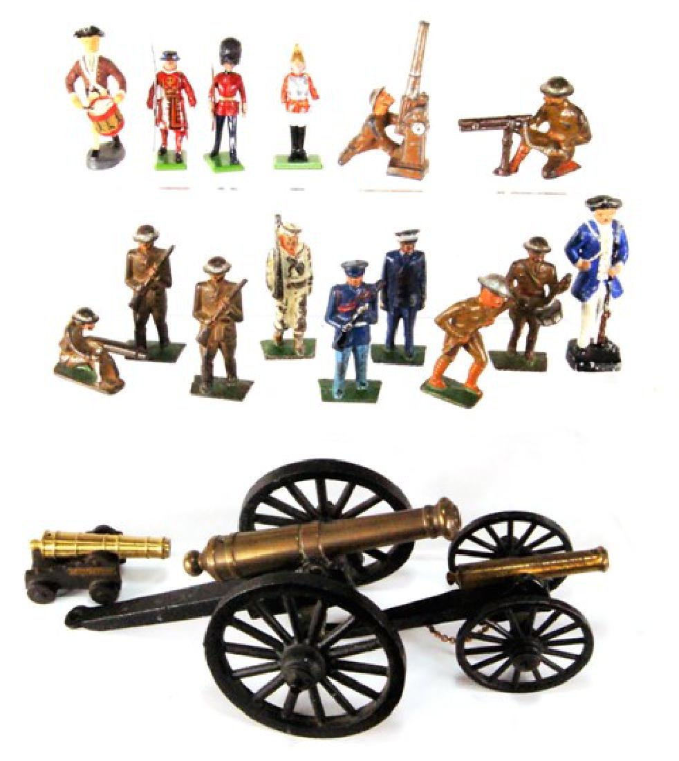 Cast Iron Soldiers & Cannons Toys Dollhouse Miniatures