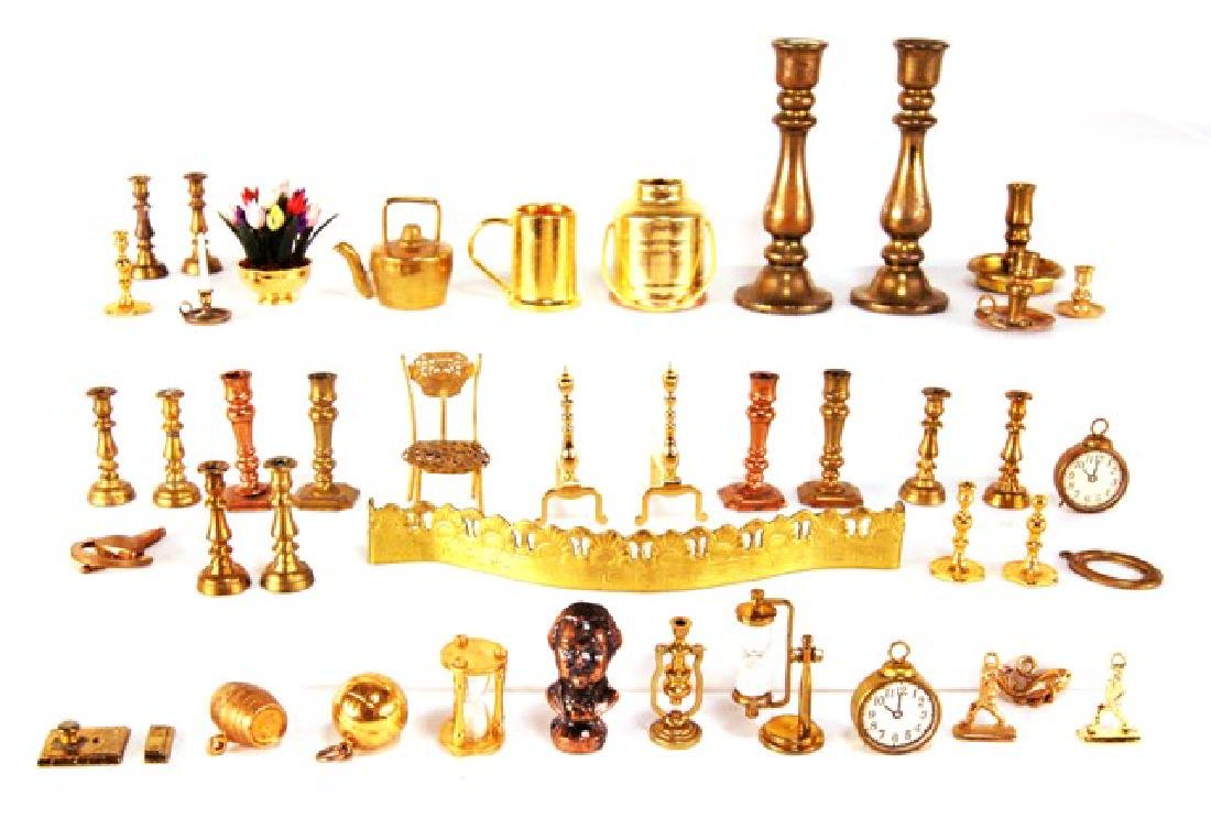 Large Group Brass Dollhouse Accessories Miniatures