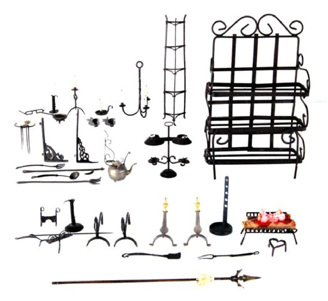 Large Group of Dollhouse Metal Accessories Miniatures